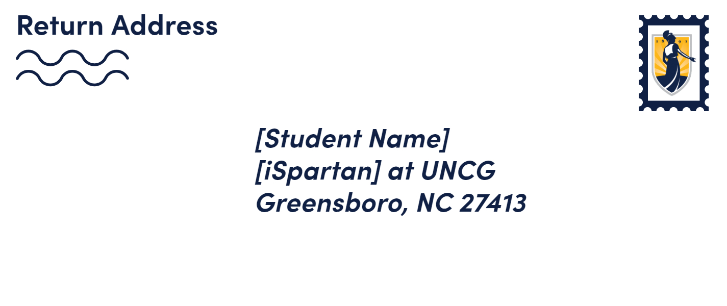 Envelope showing preferred UNCG addressing format for mail.